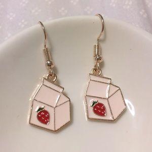 🍓 🆕 Strawberry Milk Enamel Dangle Earrings